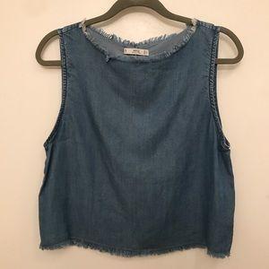 Mango chambray denim tank top blouse